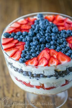 A no-bake blueberry trifle recipe that takes just 30 min! Patriotic cake with blueberries, strawberries, angel food cake and fluffy cream. Delicious!
