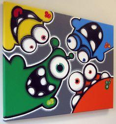 Coucou aLiENS 16 x 20 Acrylique peinture monster par art4barewalls