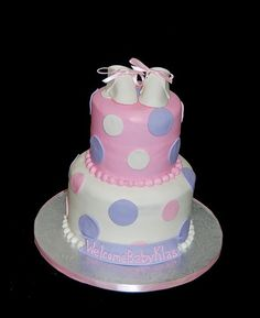 Pink and lavender cake for baby shower!