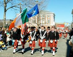 Newport, R.I. celebrates St. Patrick the entire month of March! Festivities include a parade with real kilts and the town has fun with Irish cuisine:)