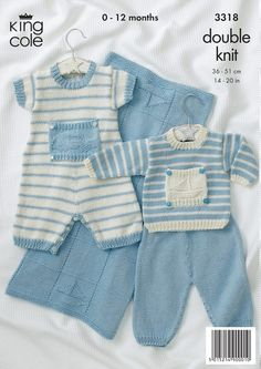 Baby Sweater, Pants, Romper, Blanket in King Cole Bamboo Cotton DK - 3318