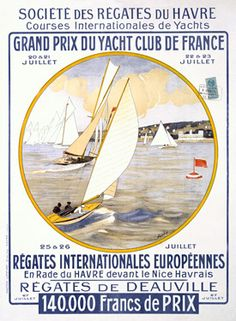 Yacht Club de France Regatta Poster  Fine Art Vintage Giclee Print