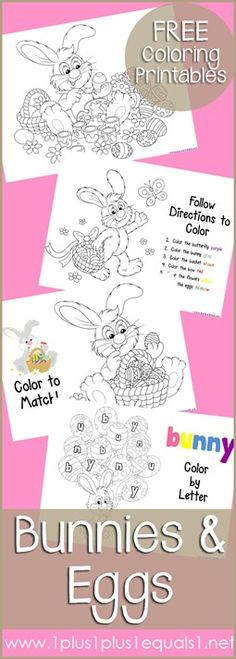 Bunnies and Eggs Coloring Printables {free} from @{1plus1plus1} Carisa
