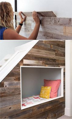 25 best DIY pallet wall tutorials & designer tips on how to create beautiful accent wood wall paneling easily, plus peel and stick boards & wallpaper ideas! Pallet Accent Wall, Diy Pallet Wall, Diy Wood Wall, Pallet Crafts, Diy Pallet Projects, Pallet Walls, Woodworking Projects, Wood Panel Walls, Wooden Walls