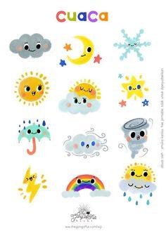 Free Printable : Cuaca – The Gang of Fur Printable Stickers, Cute Stickers, Planner Stickers, Free Printables, Kawaii Drawings, Easy Drawings, Infant Activities, Preschool Activities, Weather Icons