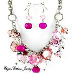 Very Classy Faceted Glass Pink Chunky Charm Necklace Set Elegant Costume Jewelry | eBay