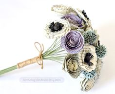 Jane Austen Bridal Bouquet with Roses Poppies by AnthologyOnMain, $95.00