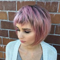 Love the texture to this short cut! If you're going to rock a bob make it edgy and fun!