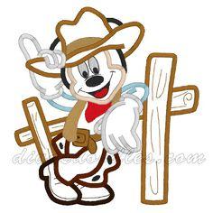 Mickey Mouse Cowboy Machine Applique! $4.00