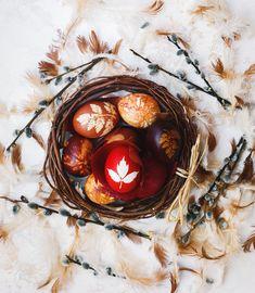 Ostereier natürlich färben mit der Blättertechnik Easter Art, Easter Eggs, Easter Egg Designs, Easter Wishes, Easter Treats, Abstract Pattern, Candle Holders, Coconut, Candles