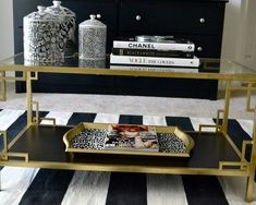 Pink Avenue: Pink Home: Ikea Coffee Table Hack coffee table idea. Coffee Table Hacks, Ikea Coffee Table, Ikea Table, New Living Room, Home And Living, Living Room Decor, Vittsjo Hack, Black And Gold Living Room, Glamour Decor