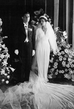 French industrialist Paul-Louis Weiller and Greek model Aliki Diplarakou on their wedding day in Paris in 1932.