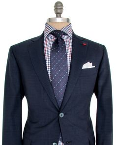 Isaia Navy Mini Check Suit