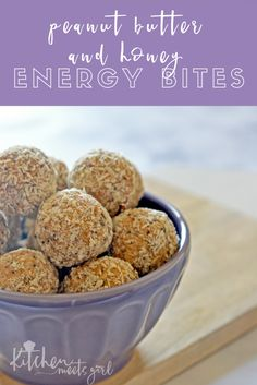 These Peanut Butter and Honey Energy Bites are loaded with everything you want in life: peanut butter, oats, honey, and coconut. Add some chia seed and ground flax for a nutritional bonus, and dark chocolate because it's yummy that way. | healthy snacks | homemade energy bites | healthy treats | homemade healthy snack ideas | how to make energy bites | healthy snack recipes || Kitchen Meets Girl