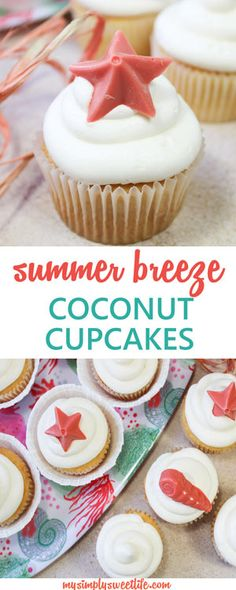 These cupcakes make you want to sit out at the beach and enjoy the warm weather! The base of the cupcake is a light vanilla coconut, and it's topped with a coconut rum frosting. Simple and sweet and perfect for summer days and nights. #summer #summerdessert #summercupcake #coconutcupcake #easydessert #coconut #coconutrum #rum