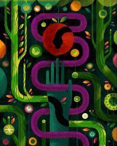 """Original Sin"" by @icreature from the book ""The Biggest Story"". #illustration #Bible #Bibleart #oldtestament #genesis #snake #apple #adamandeve #originalsin #gardenofeden"