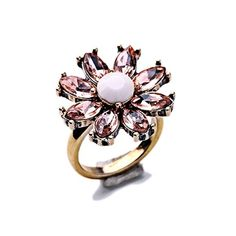 Flower Ring Gorgeous Pink Flower Ring  Size: 6.5  Materials: Gold-tone Base Metals, Rhinestones, Resin  Nickel & Lead Free  Condition: New Jewelry Rings