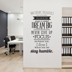 """Inspirational wall sticker including a variety of different font weights and types placed on a white wall. The wall quote includes various sayings such as """"Dream Big"""", """"Never Give Up"""", """"Focus"""", etc."""