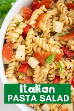 Italian pasta salad is one of my favorite cold pasta salads! Filled with cheese, pepperoni, veggies, and Italian vinaigrette salad dressing, then tossed with your rotini pasta to create the perfect dish for just about any summer occasion. Italian Dressing Pasta Salad, Vinaigrette Salad Dressing, Italian Pasta, Salad Dishes, Pasta Salad Recipes, Pepperoni Pasta Salads, Pasta Al Dente, Cold Pasta, Dinner Side Dishes