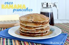 Oreo Banana Pancakes.... Look like childhood inside of pancakes which just happens to be the best breakfast food ever!