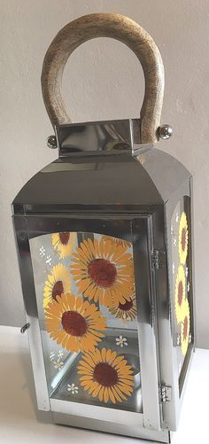 Lantern, sunflowers, hand painted, Mother's Day, Wedding gift, table centrepiece, special friend gift, Valentines Day, yellow, sunshine by DragonflyArtDesign1 on Etsy
