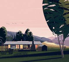 illustration, art, mid century modern,architecture