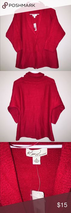 NWT Red cardigan •NWT, new condition •Kim Rogers •red •one button cardigan •braided detail on sleeves •size small, fit is true to size Kim Rogers Sweaters Cardigans