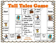 Tall Tales Game from Kiwi-Steph on TeachersNotebook.com (6 pages) - The Tall Tales Game can be copied onto card stock and laminated for durability. It was created to use as a fun way to review information contained in the Tall Tales and American Legends Unit available in my store. The characters included in the game are: Tall Tales Activities, Library Activities, Scout Activities, Library Skills, Library Lessons, Reading Lessons, Elementary School Library, Elementary Schools, Traditional Literature