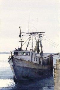 Dean Mitchell :: Astoria Fine Art Gallery in Jackson Hole Urban Landscape, Landscape Art, Watercolor Landscape, Watercolor Paintings, Watercolours, Dean Mitchell, Shrimp Boat, Boat Art, Old Boats