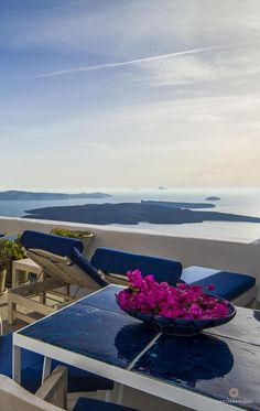Stunning views from a private terrace at the Iconic Santorini, a Boutique Cave Hotel