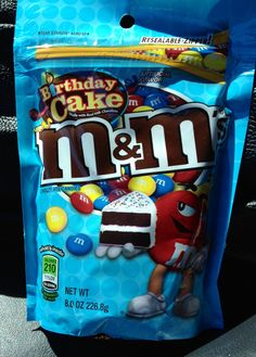 Birthday cake M&Ms. You can't taste any birthday cake flavor, unfortunately. But they have a less milky flavor than regular M And M's, which is a plus in my book Fudge Recipes, Snack Recipes, Snacks, Make A Grocery List, Birthday Cake Flavors, Chocolate Sticks, Food Pack, Recipes With Marshmallows, Food Goals
