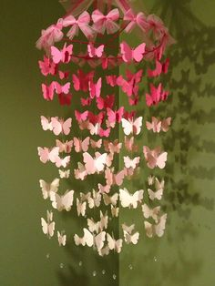 Nursery decoration mobile 3D butterflies, baby girl room mobile in pink