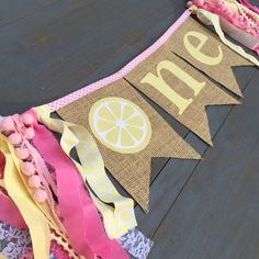 Pink Lemonade First Birthday One Burlap Bunting Banner Sign, for First Birthday Party Highchair Decoration, or Baby Girl Photo Prop, Yellow by MsRogersNeighborhood on Etsy https://www.etsy.com/listing/264947558/pink-lemonade-first-birthday-one-burlap