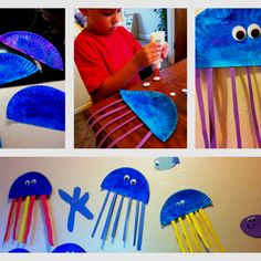 Easy jellyfish craft using paper plates, construction paper, paint, glue and googly eyes!  Much cuter and more personal than peel and stick wall decals for the kids' bathroom.