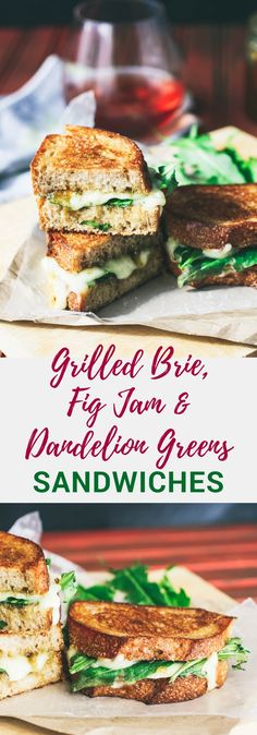 Grilled Brie, Fig Jam, and Dandelion Greens Sandwiches make a wonderful meal. You'll love how unique these Grilled Brie, Fig Jam, and Dandelion Greens Sandwiches are. #sandwich #brie #grilledcheese #vegetarian