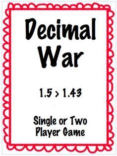Comparing Decimals Game - Decimal War