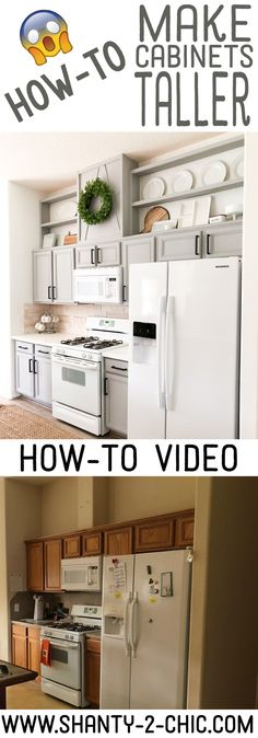 Take your kitchen cabinets from builder-grade to custom by adding height, easily and inexpensively! Free plans and how-to video at www.shanty-2-chic.com via @shanty2chic