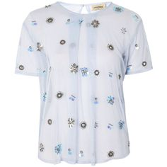 Peacock Hand Embellished Mesh Top by Lace & Beads (€51) ❤ liked on Polyvore featuring tops, blue, embellished top, beaded lace top, embellished mesh top, blue top and lace top