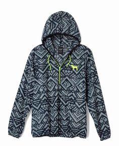 Victorias Secret PINK Anorak Pullover Hoodie Windbreaker Grey Aztec XS/Sm NEW in Coats & Jackets   eBay