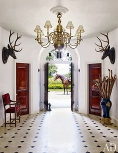 The foyer of Ralph Lauren's home in Bedford, New York....