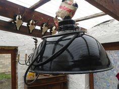 Vintage Lampenschirme - alte XL Industrielampe,Emaillelampe,SHABBY - ein…