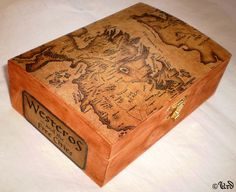 Game of Thrones inspired wooden box Westeros map by UrdHandicrafts, $28.00