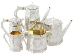 Sterling Silver Five Piece Tea and Coffee Service - Antique Victorian  SKU: A3748 Price  GBP £4,850.00  http://www.acsilver.co.uk/shop/pc/Sterling-Silver-Five-Piece-Tea-and-Coffee-Service-Antique-Victorian-67p3840.htm