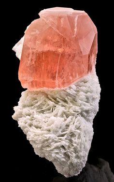 Deeply colored Morganite crystal perched atop Cleavelandite matrix