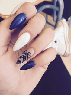 Stiletto nails with mandala art design #stiletto_nails #nails #nailart #blue_nails