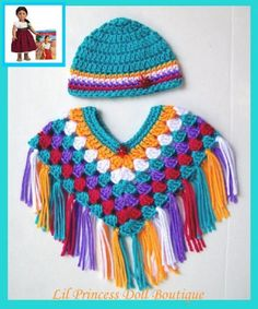 Made For American Girl Doll Josefina, Southwest Colors Poncho Set, 18 Inch Doll Clothes. $9.99, via Etsy.
