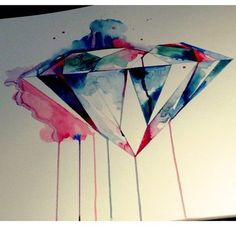 Watercolor Diamond - Tattoo for Hand or Side