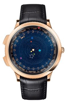 Van Cleef Arpels Midnight Planetarium Poetic Complication - In Photos: The Best Watches At SIHH 2014 - Forbes Sistema Solar, Van Cleef Arpels, Solar System Watch, Astronomical Watch, Gq, Cool Watches, Watches For Men, Unusual Watches, Latest Watches