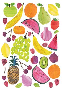 Illustration by Tracey English Fruit Illustration, Pattern Illustration, Food Illustrations, Food Patterns, Print Patterns, Pattern Print, Fruit Birthday, Fruit Pattern, Painted Paper