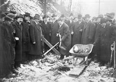 It's Budget Time in the city, and we hear lots of talk about infrastructure and the need to improve it. This picture shows the Mayor, T.L. Church, turning the sod on an infrastructure project that had everyone talking back in 1915: the construction of the Bloor St. Viaduct. This picture was taken on January 16, 1915, in the Don Valley.